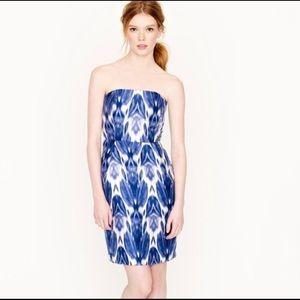 J Crew Collection Blue Silk Ikat Dress Sz 0